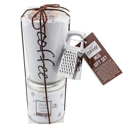 Ajándék szett, Vanília kávé 19 g, fehér kerámia bögre felirattal 300 ml, fahéj 12 g, reszelő