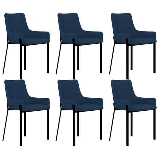 Jedálenské stoličky 6 ks, modré, látka