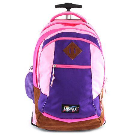 Smash Iskolai hátizsák kocsi , világos rózsaszín, sötét rózsaszínrel bélelt