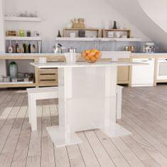 shumee Jídelní stůl bílý s vysokým leskem 110 x 60 x 75 cm dřevotříska