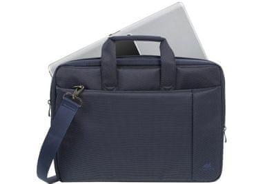 """Moderna torba za prenosnik Rivacase 8231 brašna 15,6"""" 8231-dbu elgantna gladka površina iz odporne tkanine prostorna oblazinjenje notranje stene sprednji žep za telefon dvojna zadrga hiter in lahek dostop naramnica nizka teža"""
