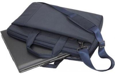 """Moderna torba za prenosnik Rivacase 8231 torba 15,6"""" 8231-dbu elegantna gladka površina iz odporne tkanine prostorna oblazinjenje notranje stene sprednji žep za telefon dvojna zadrga hiter in lahek dostop naramnica nizka teža"""