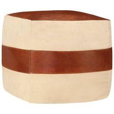 Puf, 40x40x40 cm, kolor piaskowy, płótno bawełniane i skóra