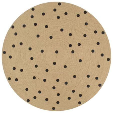 Ręcznie wykonany dywanik, juta, w kropki, 150 cm
