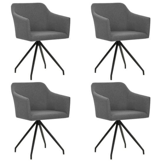 Otočné jedálenské stoličky 4 ks, svetlosivé, látka
