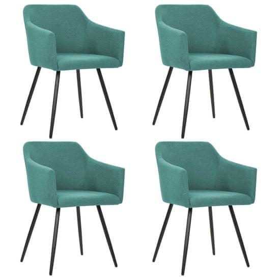 Vidaxl Jídelní židle 4 ks zelené textil