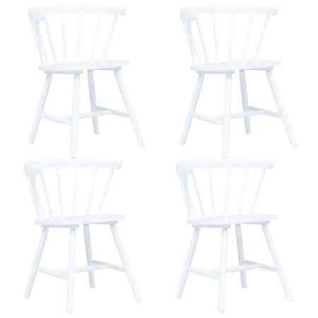 shumee Jedilni stoli 4 kosi beli trdni kavčukovec
