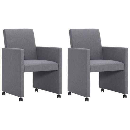 shumee Jídelní židle 2 ks světle šedé textilní čalounění