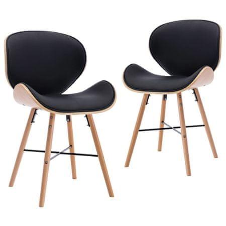 shumee Jedilni stoli 2 kosa črno umetno usnje in ukrivljen les