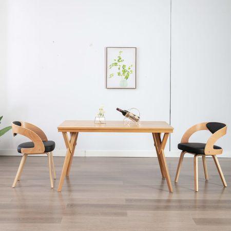 slomart Jedilni stoli 2 kosa črni ukrivljen les in umetno usnje