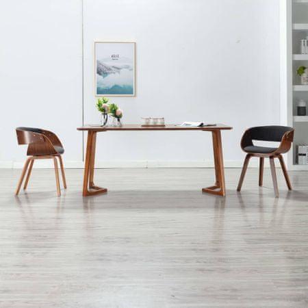 slomart Jedilni stoli 2 kosa sivi ukrivljen les in blago
