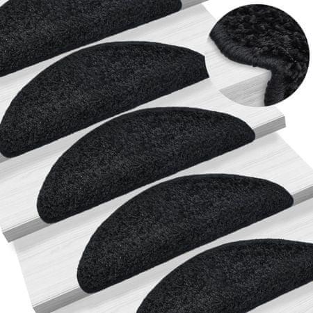 shumee 15 darab fekete lépcsőszőnyeg 65 x 25 cm