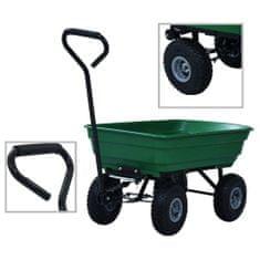 shumee Záhradný vyklápací ručný vozík zelený 300 kg 75 l