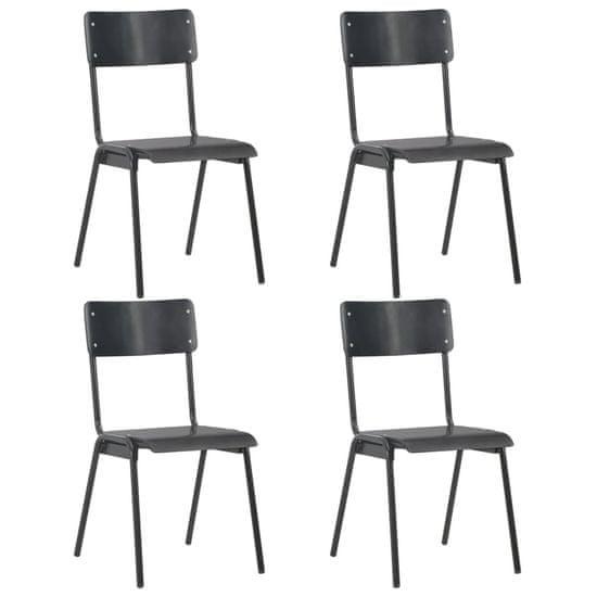 Vidaxl Jídelní židle 4 ks černé masivní překližka a ocel