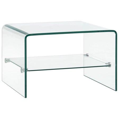 shumee átlátszó edzett üveg dohányzóasztal 50 x 45 x 33 cm