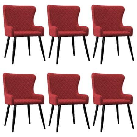 slomart Jedilni stoli 6 kosov bordo rdeče blago