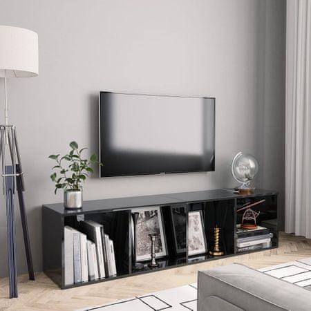shumee magasfényű fekete könyv-/TV-szekrény 143 x 30 x 36 cm