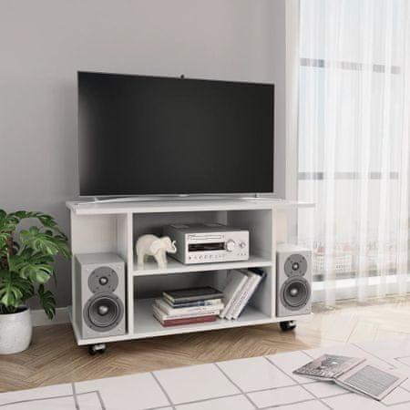 Szafka pod TV z kółkami, wysoki połysk, biała, 80x40x40 cm