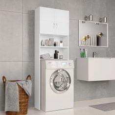 shumee Skrinka na práčku biela 64x25,5x190 cm drevotrieska