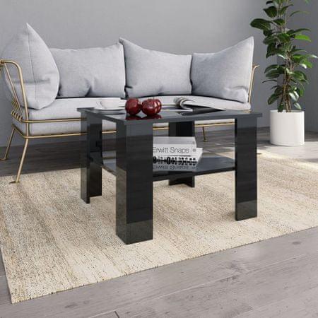 slomart Klubska mizica visok sijaj črna 60x60x42 cm iverna plošča