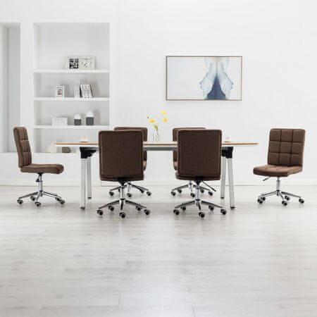 shumee Krzesła stołowe, 6 szt., brązowe, tapicerowane tkaniną