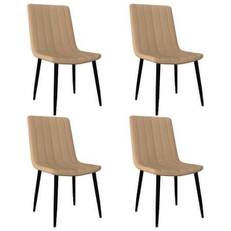 shumee Krzesła jadalniane, 4 szt., kremowe, sztuczna skóra