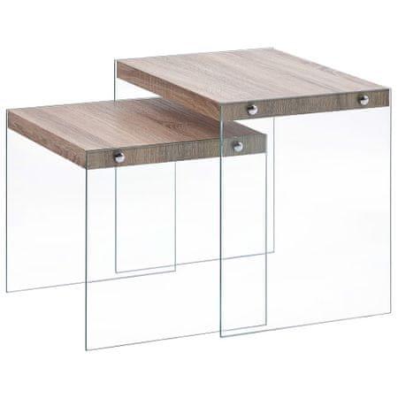 shumee 2 db tölgyszínű MDF egymásba tolható asztal