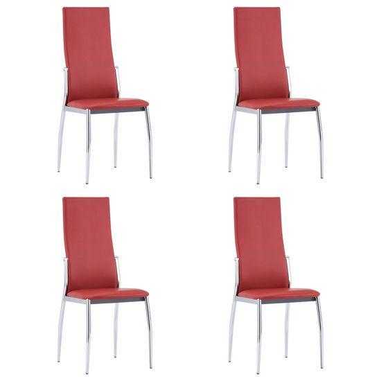 shumee Jídelní židle 4 ks červené umělá kůže