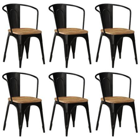 shumee Jedilni stoli 6 kosov črni iz trdnega mangovega lesa