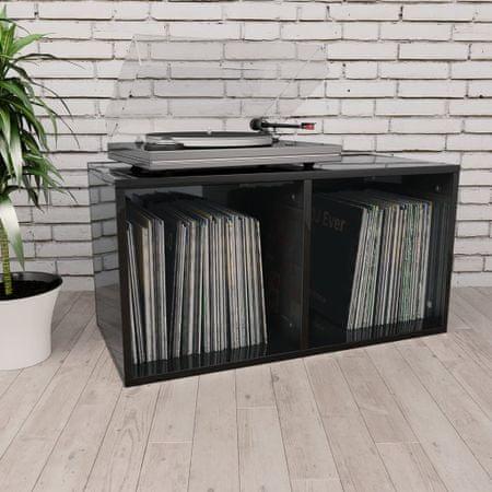 shumee magasfényű fekete forgácslap bakelittároló doboz 71x34x36 cm