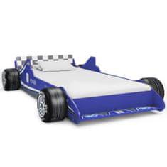 Detská posteľ pretekárske auto 90x200 cm modrá