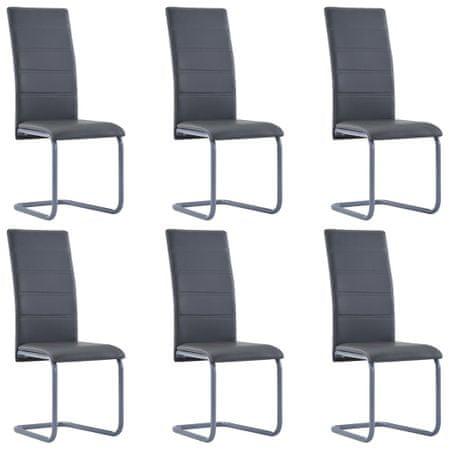 shumee Nihajni jedilni stoli 6 kosov sivo umetno usnje
