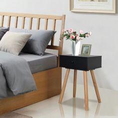 Čierne nočné stolíky, 2 ks, masívne borovicové drevo, 40x30x61 cm