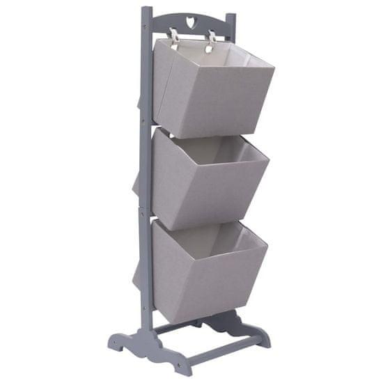 shumee Regál se 3 košíky tmavě šedý 35 x 35 x 102 cm dřevo