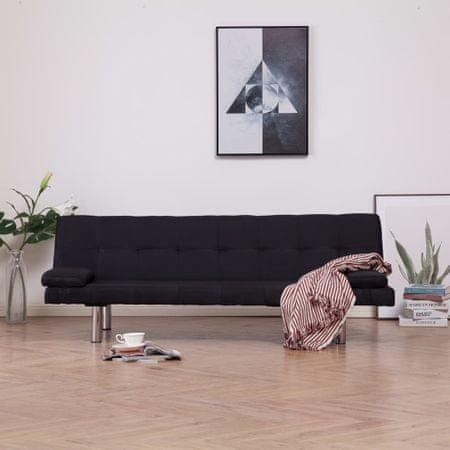 shumee fekete poliészter kanapéágy két párnával