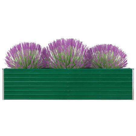 shumee Dvignjeno cvetlično korito 320x40x77 cm pocinkano jeklo zeleno
