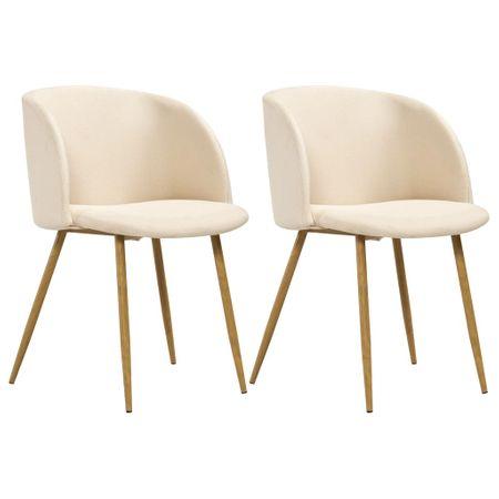 shumee Jedilni stoli 2 kosa krem blago