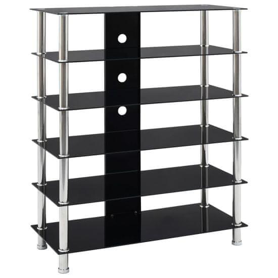 HiFi stolík čierny 90x40x113 cm tvrdené sklo