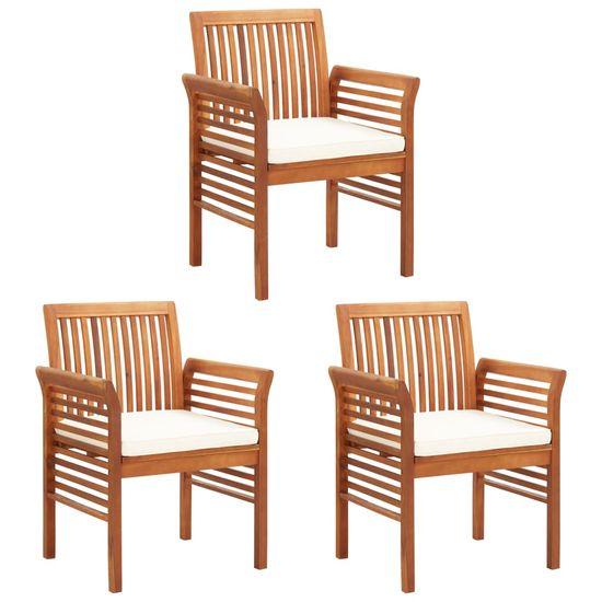 Záhradné jedálenské stoličky s poduškami 3 ks akáciový masív