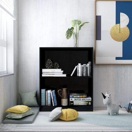 shumee magasfényű fekete forgácslap könyvespolc 60 x 24 x 74,5 cm