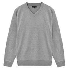 5 swetrów męskich z dekoltem w serek, szary, L