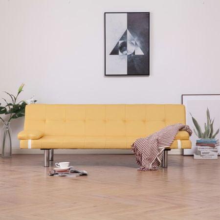 slomart Kavč z ležiščem in 2 blazinama rumen poliester