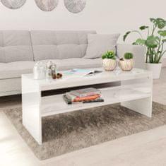 shumee Konferenční stolek bílý vysoký lesk 100x40x40 cm dřevotříska