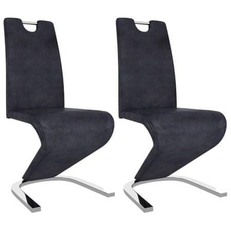 shumee Jedilni stoli cikcak oblike 2 kosa sivo umetno semiš usnje