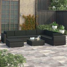 shumee 8-cz. zestaw wypoczynkowy do ogrodu, poduszki, rattan PE czarny