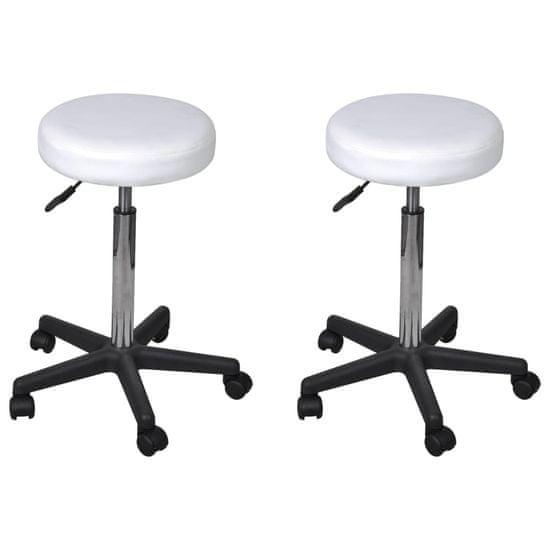 shumee Kancelářské stoličky 2 ks bílé 35,5 x 98 cm umělá kůže