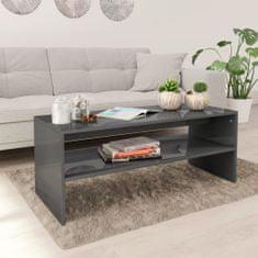 shumee Konferenční stolek šedý vysoký lesk 100x40x40 cm dřevotříska