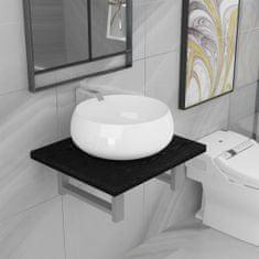 shumee Dvojdielna sada kúpeľňového nábytku čierna keramická