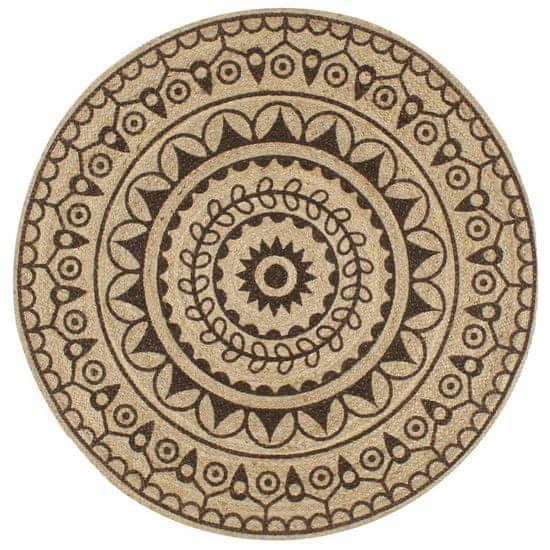 Ručne vyrobený jutový koberec, tmavohnedá potlač 150 cm