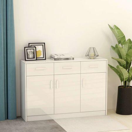 shumee magasfényű fehér forgácslap tálalószekrény 110 x 34 x 75 cm